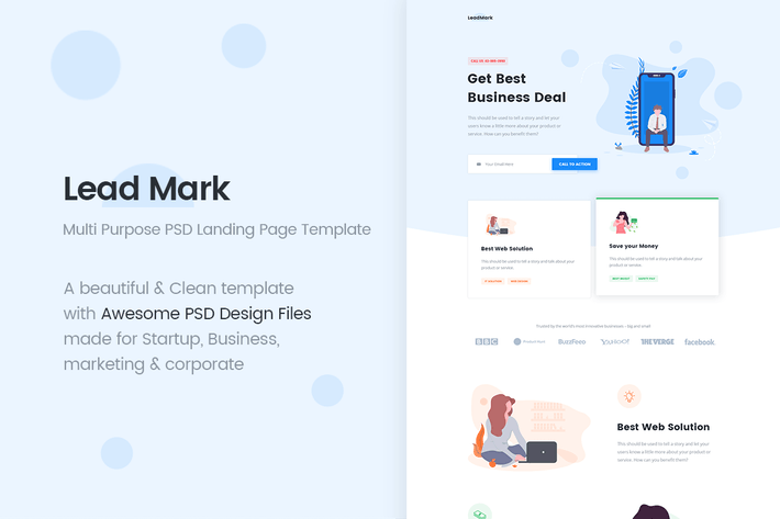 Thumbnail for LeadMark - Multi Purpose PSD Landing Page