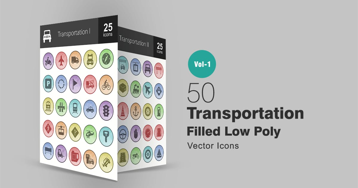 Download 50 Transportation Filled Low Poly Icons by IconBunny