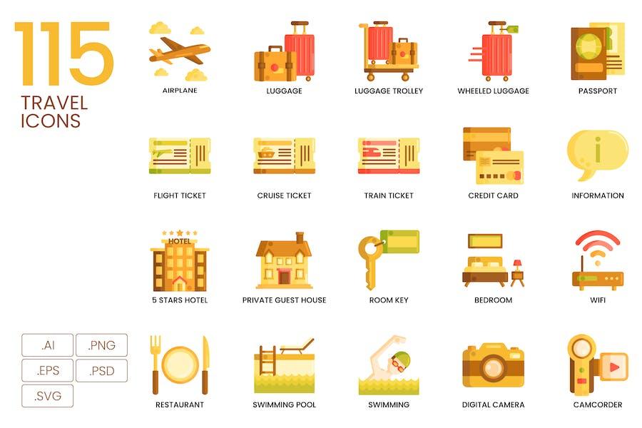 115 Reise-Icons - Karamell-Serie