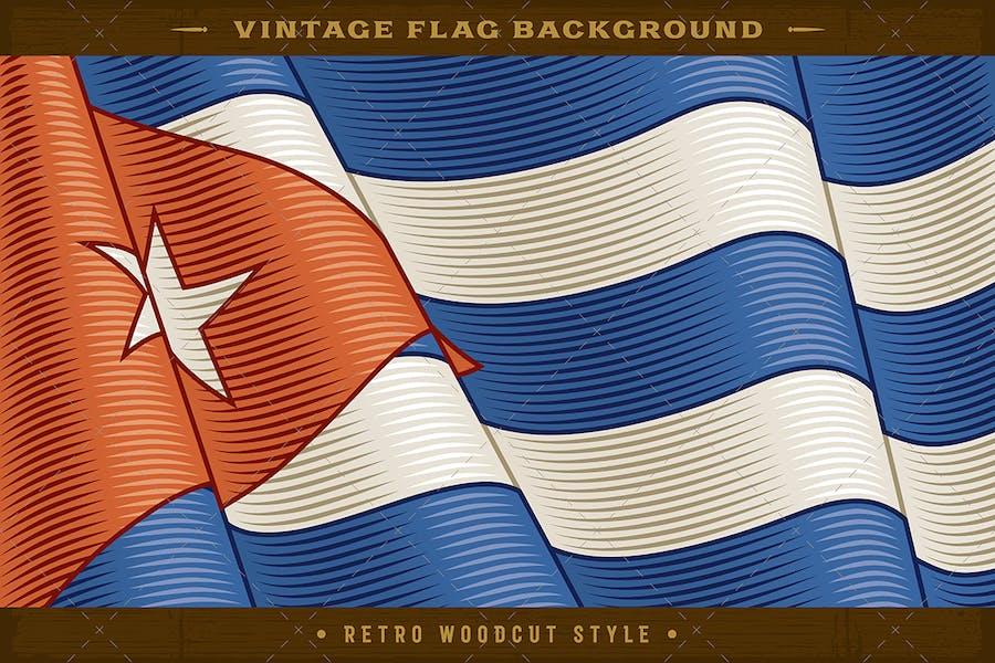 Vintage Flag Of Cuba. Close-up Background
