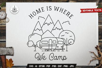 Camp Line Art Badge Design. Travel Label Vector