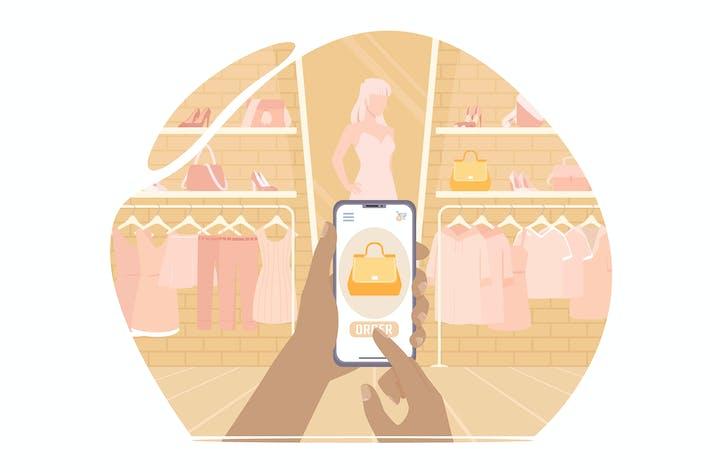 Thumbnail for Kauf einer Tasche in einem Geschäft per Telefon. Online einkaufen