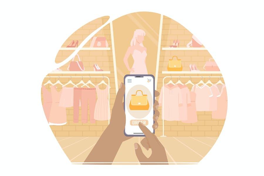 Comprar una bolsa en una tienda a través del teléfono. Compras en línea