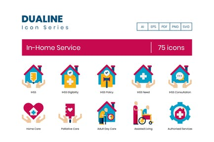 75 Icons für In-Home-Services - Dualine Flat Serie