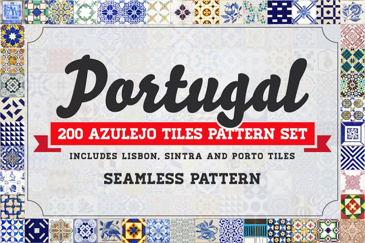 Thumbnail for 200 Seamless Portugal Azulejo Tiles