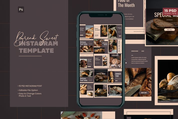 Thumbnail for Bread Concept Instagram Post Template