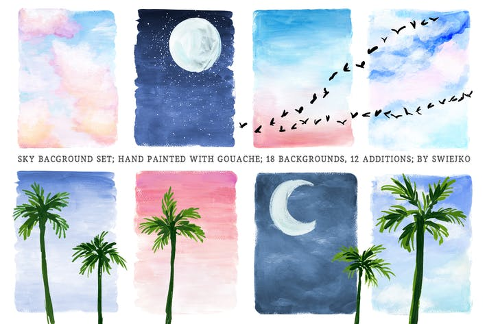 Thumbnail for Hand painted sky background set