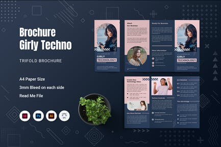 Girly Techno Trifold Brochure