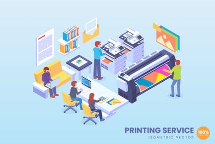 Isometric Printing Service Technology Vector
