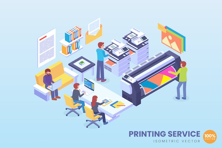 Cover Image For Isometric Printing Service Technology Vector