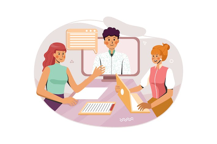 Two Woman are Having Online Meeting With a Man