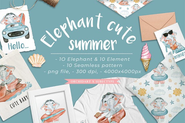 elephant cute summer watercolor illustration