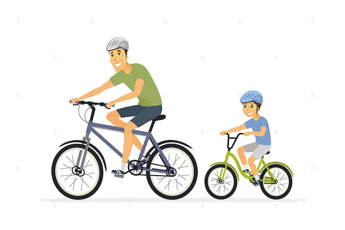 Thumbnail for Father and son cycling - cartoon people characters