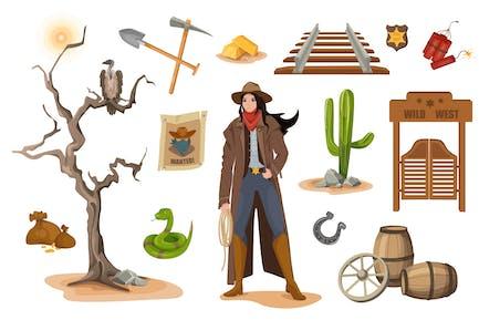 Wild West Design Elements Set