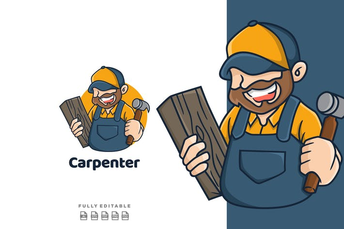 Thumbnail for Carpentry Wood Working Logo Mascot