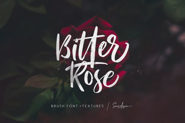 Thumbnail for Bitter Rose - Brush Font (+TEXTURES)