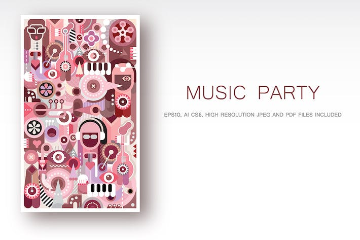 Cover Image For Music Party vector illustration