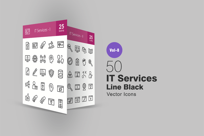 Thumbnail for 50 IT Services Line Icons