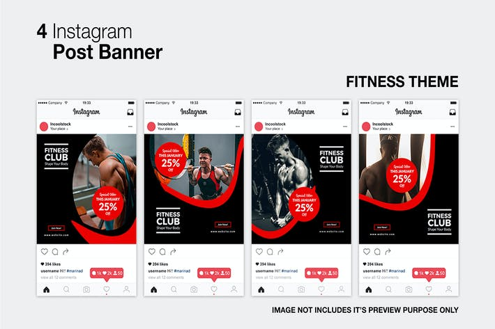Cover Image For Fitness Club Instagram Post