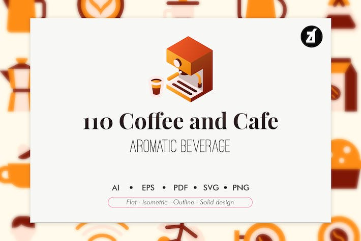 Thumbnail for 110 Coffee and cafe elements icon pack