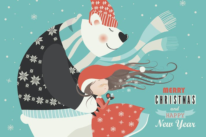 Thumbnail for Cute girl with polar bear. Vector greeting card