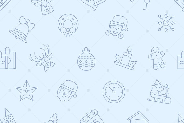 Thumbnail for New year linear symbols seamless pattern