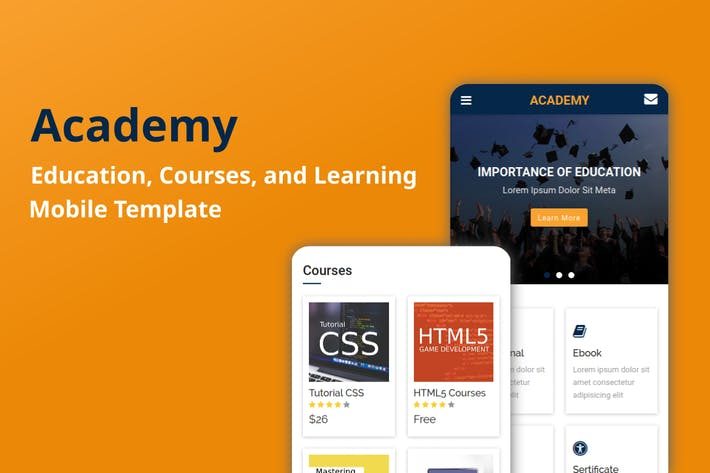 Thumbnail for Academy - Education, Courses Mobile Template