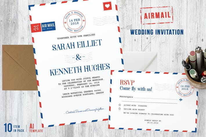 Thumbnail for Airmail Wedding Invitations