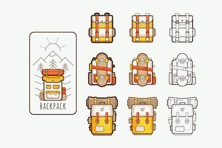 vector icons with backpacks for hiking