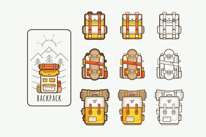 Thumbnail for vector icons with backpacks for hiking