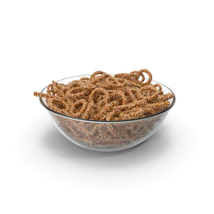 Bowl with Mixed Mini Pretzels with Sesame