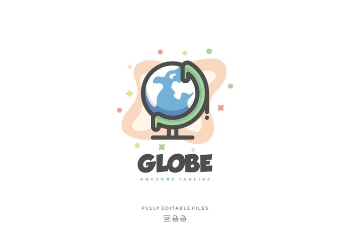 Thumbnail for Simple Globe Color Line Logo