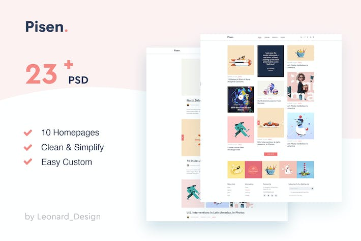 Thumbnail for Pisen | Minimalist Blog PSD Template