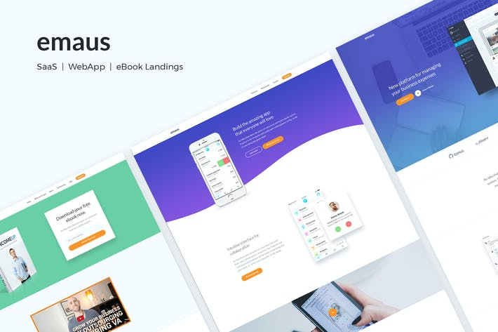 Cover Image For Emaus | SaaS, WebApp, Ebook Responsive Landing Pag