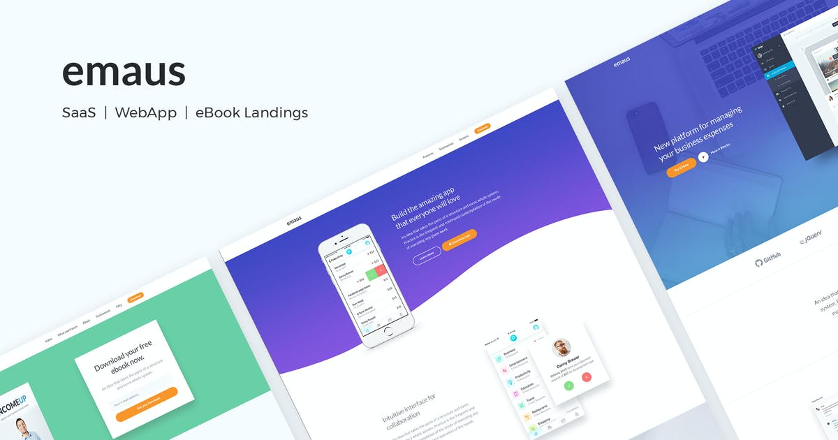 Download Emaus | SaaS, WebApp, Ebook Responsive Landing Pag by DeoThemes