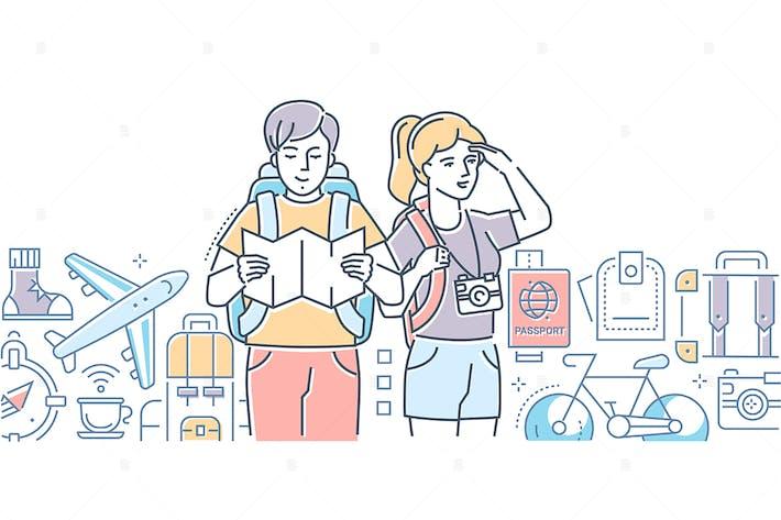 Путешествие - линия дизайн стиль иллюстрации