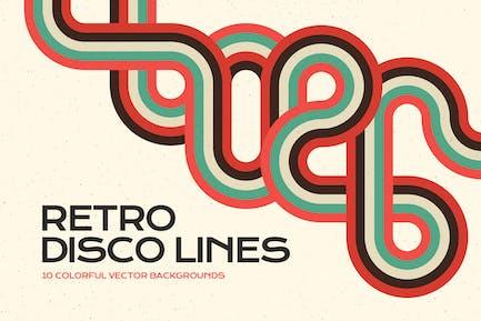 Retro Disco Linien Vektor Hintergründe Pack