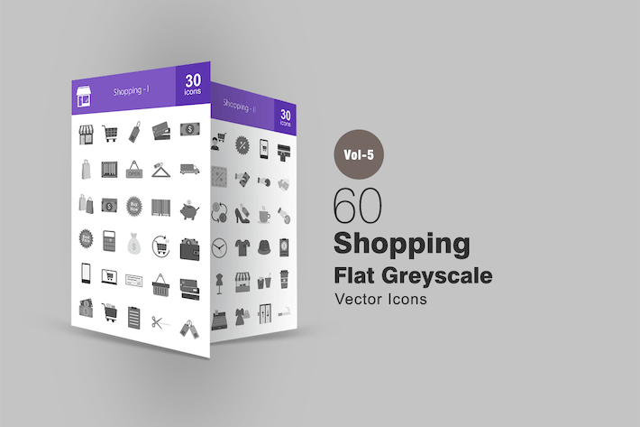 Thumbnail for 60 Shopping Greyscale Icons