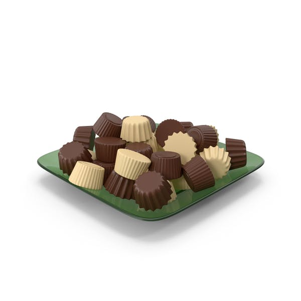 Стеклянная тарелка с шоколадом