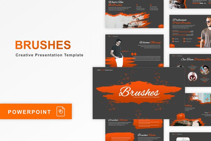 Thumbnail for Brushes - Creative PowerPoint Template