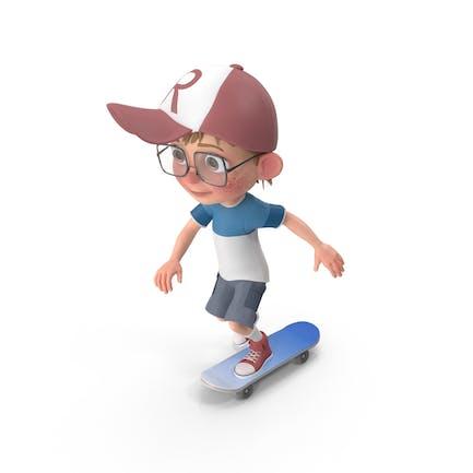 Cartoon Junge Harry Skateboarding