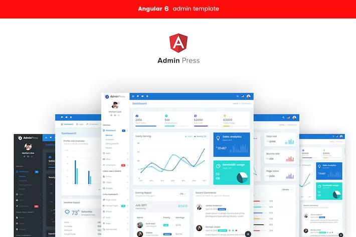 Thumbnail for Admin Press Angular 7 dashboard Template