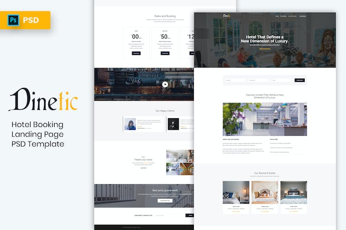 Thumbnail for Hotel Booking - Landing Page PSD Template