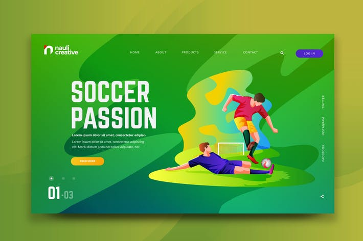 Thumbnail for Soccer Sports Web PSD and AI Vector Template