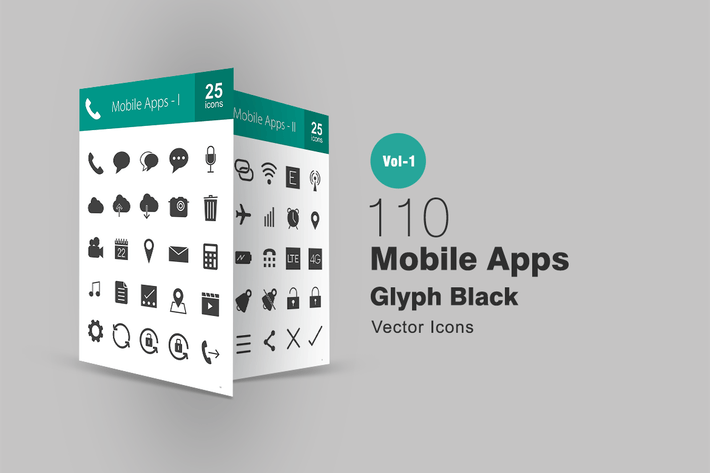 Thumbnail for 110 Mobile Apps Glyph Icons