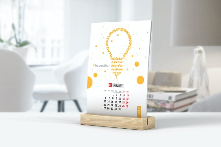 Thumbnail for Desk Calendar With Wooden Stand Mockup
