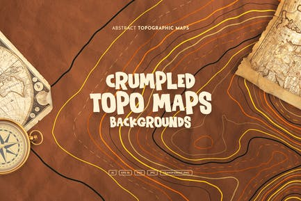Crumpled Topographic Map Backgrounds