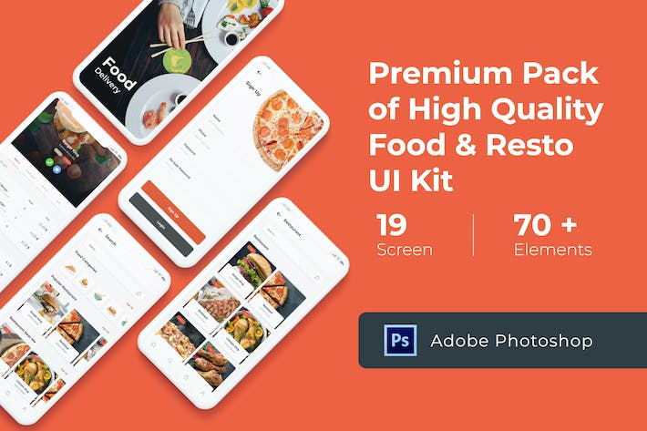 Thumbnail for Food Delivery UI KIT for Photoshop