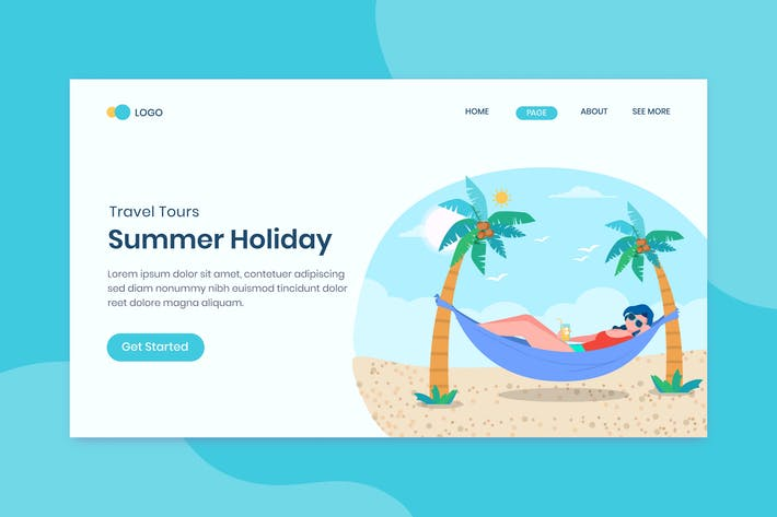 Thumbnail for Summer Holiday Landing Page Template