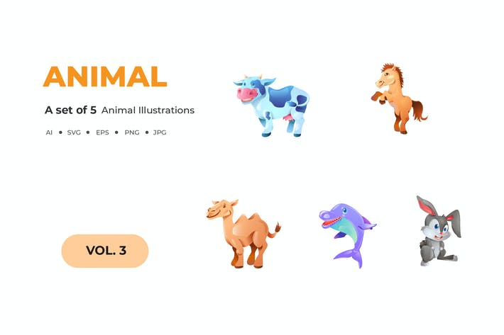Thumbnail for Cartoon Animal Illustrations